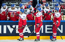 Martin Erat of Czech Republic, Jakub Nakladal of Czech Republic and Jakub Voracek of Czech Republic celebrate after scoring second goal during Ice Hockey match between Finland and Czech Republic at Quarterfinals of 2015 IIHF World Championship, on May 14, 2015 in O2 Arena, Prague, Czech Republic. Photo by Vid Ponikvar / Sportida