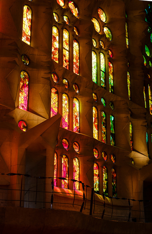 BARCELONA, SPAIN - CIRCA MAY 2018: Interior of La Sagrada Familia, a famous Cathedral in Barcelona designed by Antoni Gaudi. View of the interior Vitraux.
