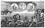 Neptune (Greek:Poseidon), holding his triple-headed spear (trident), in chariot pulled by sea horses. 18th century engraving.