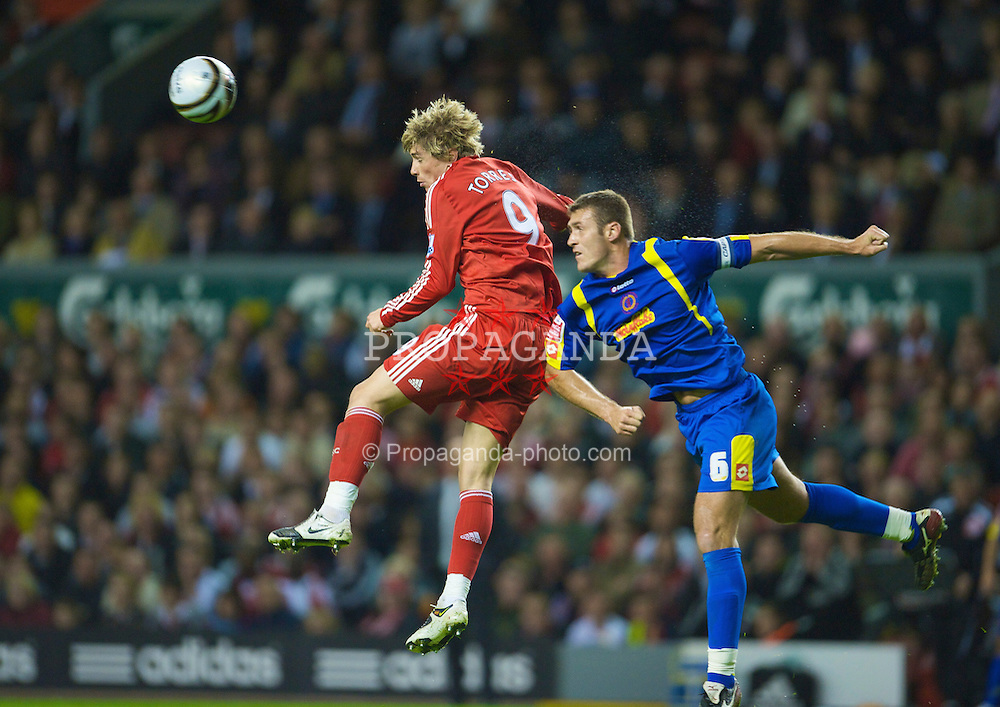 LIVERPOOL, ENGLAND - Tuesday, September 23, 2008: Liverpool's Fernando Torres in action against Crewe Alexandra's Julian Baudet during the League Cup 3rd round match at Anfield. (Photo by David Rawcliffe/Propaganda)