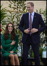 The Duke of Cambridge fires a pistol to start a cycle race as The Duke and Duchess of Cambridge open the new Cycling Centre of Excellence Velodrome in Hamilton, New Zealand, on day 6 of the  Royal Tour of New Zealand and Australia, Saturday, 12th April 2014. Picture by Andrew Parsons / i-Images