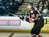 KELOWNA, CANADA, JANUARY 1: Calder Brooks #19 of the Calgary Hitmen skates on the ice as the Calgary Hitmen visit the Kelowna Rockets on January 1, 2012 at Prospera Place in Kelowna, British Columbia, Canada (Photo by Marissa Baecker/Getty Images) *** Local Caption ***