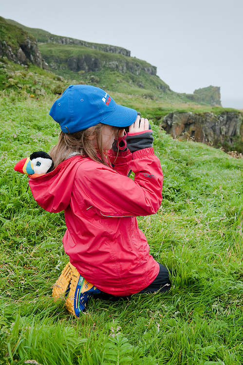 Iona looking for puffins, Lunga, Scotland