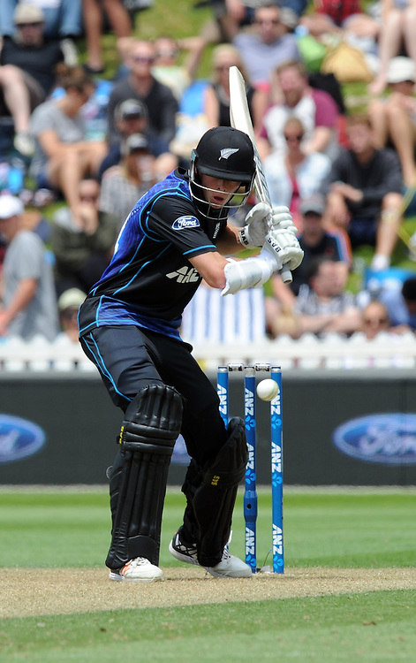 New Zealand's Mitchell Santner bating against Pakistan in the 1st ODI International Cricket match at Basin Reserve, Wellington, New Zealand, Monday, January 25, 2016. Credit:SNPA / Ross Setford