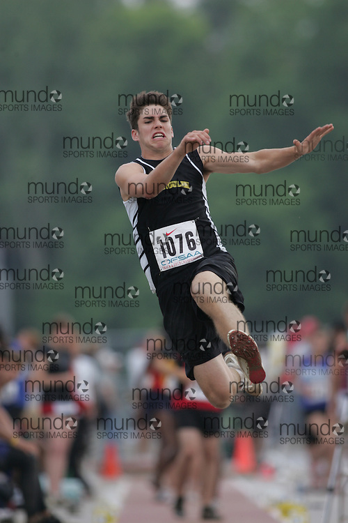 (London, Ontario}---03 June 2010) Andrew Argall of Manitoulin - M'Chigeeng competing in the junior boys long jump at the 2010 OFSAA Ontario High School Track and Field Championships. Photograph copyright Sean Burges / Mundo Sport Images, 2010.