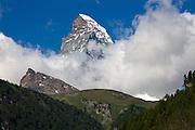 The Matterhorn looms over the Mattertal, along the Europaweg, Switzerland.