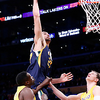 05 December 2016: Utah Jazz center Rudy Gobert (27) goes for the dunk against Los Angeles Lakers forward Luol Deng (9) and Los Angeles Lakers center Timofey Mozgov (20) during the Utah Jazz 107-101 victory over the Los Angeles Lakers, at the Staples Center, Los Angeles, California, USA.