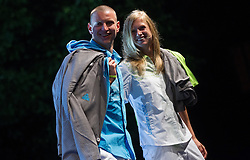 Robert Zbogar and Tina Sutej during presentation of Slovenian Olympic and Paralympic team for London 2012, on July 6, 2012 in Ljubljana's Castle, Ljubljana, Slovenia.  (Photo by Vid Ponikvar / Sportida.com)