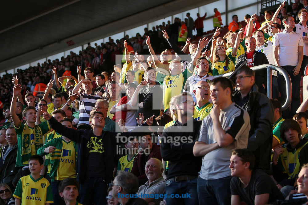 Norwich City fans celebrate after their side's second goal during the Barclays Premier League match at the St Mary's Stadium, Southampton<br /> Picture by Daniel Chesterton/Focus Images Ltd +44 7966 018899<br /> 15/03/2014