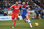Chesterfield defender and captain Sam Hird and Gillingham defender Aaron Morris during the Sky Bet League 1 match between Gillingham and Chesterfield at the MEMS Priestfield Stadium, Gillingham, England on 27 February 2016. Photo by Martin Cole.