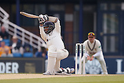 Squats drive from Yorkshire All-rounder Adil Rashid  during the Specsavers County Champ Div 1 match between Yorkshire County Cricket Club and Surrey County Cricket Club at Headingley Stadium, Headingley, United Kingdom on 10 May 2016. Photo by Simon Davies.