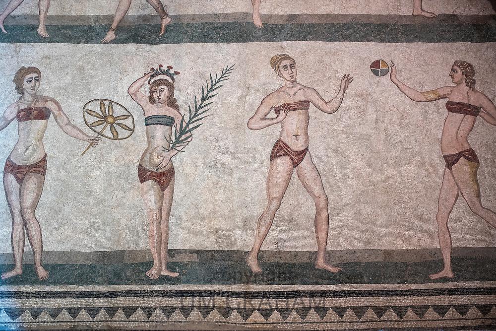 Famous mosaics and mosiac art of ' bikini girls ' athletes at ancient Roman Villa del Casale, Piazza Armerina, Sicily, Italy