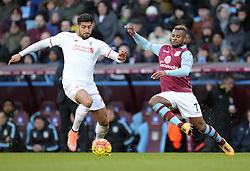 Emre Can of Liverpool battles for the ball with Leandro Bacuna of Aston Villa - Mandatory byline: Alex James/JMP - 14/02/2016 - FOOTBALL - Villa Park - Birmingham, England - Aston Villa v Liverpool - Barclays Premier League