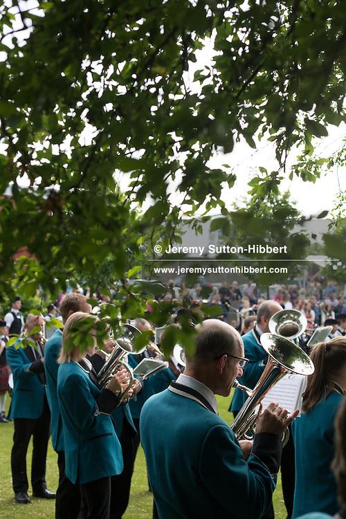 The Raid Stane Ceremony at Netherdale, during the Gala Braw Lads Gathering, with Braw Lad Daniel Whitehead, in Galashiels, Scotland, Saturday 29th June 2013.<br /> N55&deg;36.414'<br /> W2&deg;47.127'