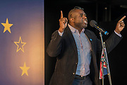 David Lammy MP speaks - Unite for Europe march attended by thousands on the weekend before Theresa May triggers article 50. The march went from Park Lane via Whitehall and concluded with speeches in Parliament Square.