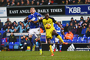Burton Albion's Lucas Akins and Ipswich Town's Joe Garner during the EFL Sky Bet Championship match between Ipswich Town and Burton Albion at Portman Road, Ipswich, England on 10 February 2018. Picture by John Potts.