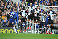 Football - 2017 / 2018 FA Cup - Fourth Round: Chelsea vs. Newcastle United<br /> <br /> Eden Hazard of Chelsea , chips the ball over the Newcastle wall at Stamford Bridge.<br /> <br /> COLORSPORT/ANDREW COWIE