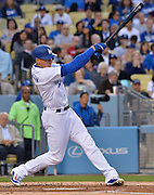 Los Angeles Dodgers left fielder Trayce Thompson #21 connects but can't get on base in the 2nd inning. The Los Angeles Dodgers played the Cincinnati Reds at Dodger Stadium in Los Angeles , CA.  May 25, 2016. (Photo by John McCoy/Southern California News Group