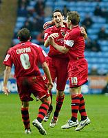 Photo: Ed Godden/Sportsbeat Images.<br />Coventry City v Cardiff City. Coca Cola Championship. 10/02/2007. Cardiff's Peter Whittingham (centre) celebrates scoring.