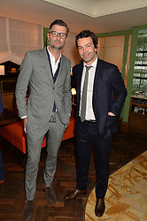 Left to right, KEVIN FRANCIS GRAY and ELLIOT MACDONALD at a party hosted by Pace Gallery as part of Frieze 2015 held at 45 Jermyn Street, London on 15th October 2015.