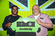 Forest Green Rovers Reece Brown(10) with match sponsor KB Coaches during the EFL Sky Bet League 2 match between Forest Green Rovers and Lincoln City at the New Lawn, Forest Green, United Kingdom on 2 March 2019.