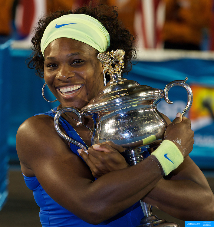 Serena Williams USA, winning the Women's singles final defeating Dinara Safina 6-0, 6-3 at the Australian Tennis Open on January 31, 2009 in Melbourne, Australia. Photo Tim Clayton    .