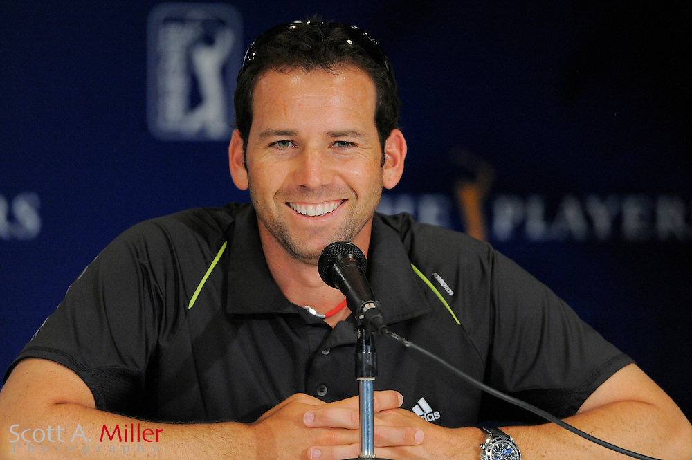 Defending champion Sergio Garcia speaks to the media during a pre-tournament press conference at TPC Sawgrass on May 5, 2009 in Ponte Vedra Beach, Florida.     ©2009 Scott A. Miller