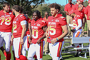 Jan 25, 2019; Kissimmee, FL, USA; Kansas City Chiefs quarterback Patrick Mahomes (15) and wide receiver Tyreek Hill (10) Indianapolis Colts quarterback Andrew Luck (12) and Pittsburgh Steelers tackle Alejandro Villanueva (78) after the NFC team photo for the 2019 Pro Bowl at ESPN Wide World of Sports Complex. (Kim Hukari/Image of Sport)
