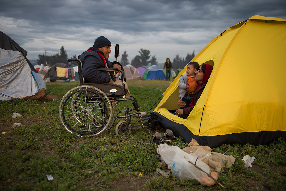 March 4, 2016 - Idomeni, Greece: Refugees from Syria in the make shift camp at the  Idomeni border crossing in Greece. 12,000 refugees are stuck here after Macedonia closed the border. New arrivals come in every day, making living conditions more and more difficult. (Steven Wassenaar/Polaris)