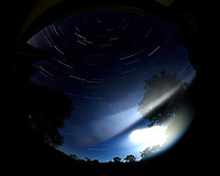 Star trails over New Jersey. Composite of images (00:30 to 01:29) taken with a Nikon D850 camera and 8-15 mm fisheye lens (ISO 100, 8 mm, f/4, 30 sec). Raw images processed with Capture One Pro, and the composite generated using Photoshop CC (statistics, maximum).