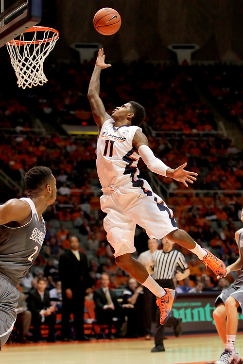 Illinois guard Aaron Cosby (11) shoots against Georgia Southern during the first half of an NCAA college basketball game at the State Farm Center Friday, Nov. 14, 2014, on the University of Illinois campus in Champaign, Ill. (Lee News Service/ Stephen Haas)