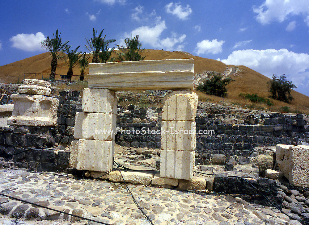 """The Roman ruines at Bet Shean, Israel Bet She'an was the site of an Egyptian administrative center during the XVIII and XIX dynasties. In Hellenistic times it was a Scythian city from circa 625 to 300 B.C., and the biblical city Beth-shean. In 64 BC it was taken by the Romans, rebuilt, and made the center of the Decapolis, the """"Ten Cities"""" of Samaria that were centers of Greco-Roman culture. The city contains the best preserved Roman theater of ancient Samaria."""