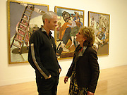 Paula Rego and Martin McDonagh. In front of Paula's triptych  'The Pillowman' inspired by Irish playwright Martin McDonagh's dark comedy  ' The Pillowman.  Paula Rego exhibition opening, Tate Britain, 27 October 2004.  ONE TIME USE ONLY - DO NOT ARCHIVE  © Copyright Photograph by Dafydd Jones 66 Stockwell Park Rd. London SW9 0DA Tel 020 7733 0108 www.dafjones.com