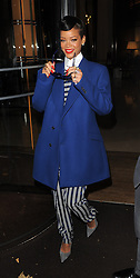 Singer Rihanna leaves her hotel and heads to Westfield Stratford City shopping centre in London, where she will switch on the Christmas lights and perform. UK. 19/11/2012<br />BYLINE MUST READ : GOTCHAIMAGES.COM<br /><br />Copyright by © Gotcha Images Ltd. All rights reserved.<br />Usage of this image is conditional upon the acceptance <br />of Gotcha Images Ltd, terms and conditions available at<br />www.gotchaimages.com