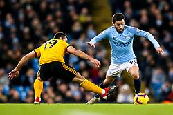 Bernardo Silva of Manchester City takes on Jonny of Wolverhampton Wanderers - Mandatory by-line: Robbie Stephenson/JMP - 14/01/2019 - FOOTBALL - Etihad Stadium - Manchester, England - Manchester City v Wolverhampton Wanderers - Premier League