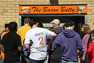 Picture by David Horn/Focus Images Ltd +44 7545 970036.20/04/2013.A Barnet fans supports the fan's desire to stay in Barnet by wearing a 'Back 2 Barnet' t-shirt before their last game at Underhill before the npower League 2 match at Underhill Stadium, London.