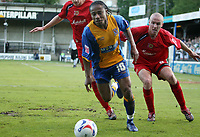 Photo: Rich Eaton.<br /> <br /> Shrewsbury Town v Milton Keynes Dons. Coca Cola League 2. Play off Semi Final, 1st Leg. 14/05/2007. ShrewsburysDerek Asamoah #10 is first to the ball