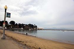 Sandy beach front and shoreline along the San Francisco Maritime National Historical Park, San Francisco, California