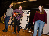 "Brad Dutton, Dan Pinkham-Breslin and Christina Dutton rehearse ""A Big Life"" scene in the student run production of ""A Fever Dream of Creativity"" an improv and sketch show with the Players Comedy Club at Winnisquam Regional High School on Wednesday afternoon.  (Karen Bobotas/for the Laconia Daily Sun)"