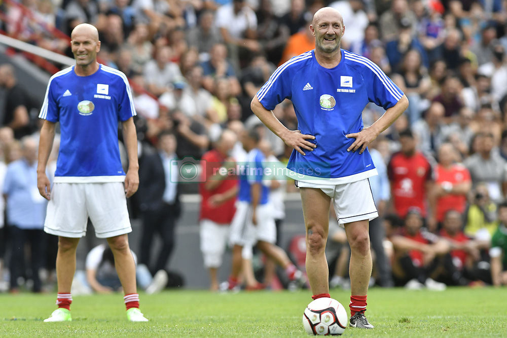 Zinedine Zidane and Fabien Barthez during the during the France 98 V Stade Toulousain match at the Ernest Wallon stadium in Toulouse, France, on July 10, 2017. Photo by Pascal Rondeau/ABACAPRESS.COM