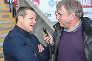 Forest Green Rovers manager, Mark Cooper being interviewed pre match during the EFL Sky Bet League 2 match between Morecambe and Forest Green Rovers at the Globe Arena, Morecambe, England on 17 February 2018. Picture by Shane Healey.