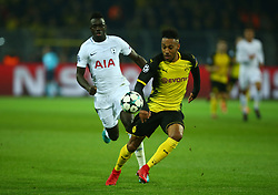 November 21, 2017 - Dortmund, Germany - Pierre-Emerick Aubameyang of Borussia Dortmund beats Tottenham Hotspur's Davinson Sanchez.during UEFA Ch scores his sides first goal  ampion  League Group H Borussia Dortmund between Tottenham Hotspur played at Westfalenstadion, Dortmund, Germany 21 Nov 2017  (Credit Image: © Kieran Galvin/NurPhoto via ZUMA Press)