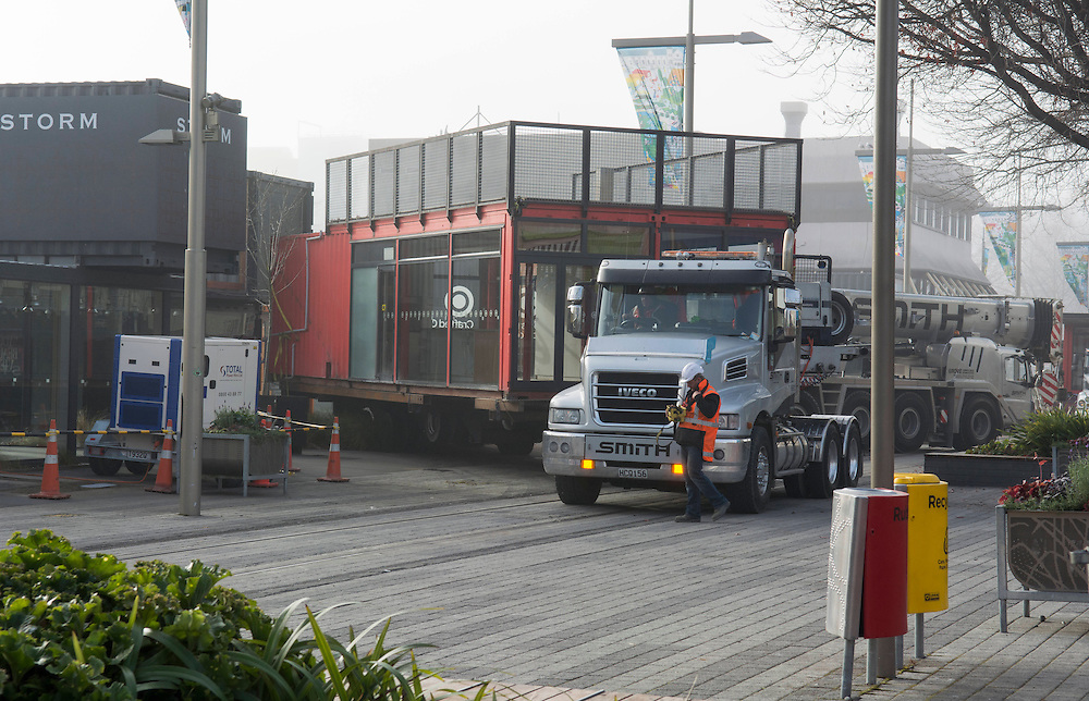 The shift begins as the Restart Mall is relocated to a new site to facilitate the rebuild start on the North side of Cashel Mall , Christchurch, New Zealand, Tuesday, June 3, 2014.  <br /> Credit:SNPA / David Alexander