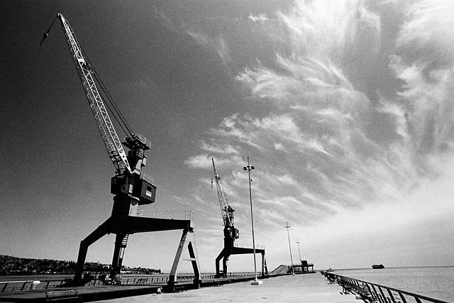 Cranes in the port of Valparaiso