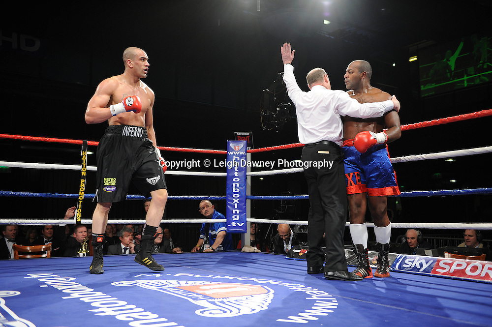 Heavyweight Richard Towers (black shorts) defeats Daniel Bispo at the Premier Suite Reebok Stadium, Bolton on Saturday 26th February 2011. Hatton Promotions. Photo credit © Leigh Dawney.
