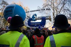 © Licensed to London News Pictures. 30/11/2011. London, UK.  Workers and Union members take part in a national public sector worker strike in central London today (30/11/2011). Up to two million public sector workers are staging a strike over pensions in what is set to be the biggest walkout for a generation.  Ben Cawthra/LNP
