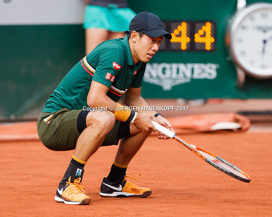 KEI NISHIKORI (JPN) reagiert enttaeuscht,Frust,Arger,Emotion,<br /> <br /> Tennis - French Open 2017 - Grand Slam / ATP / WTA / ITF -  Roland Garros - Paris -  - France  - 7 June 2017.