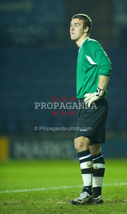 LEICESTER, ENGLAND - Tuesday, January 12, 2010: Leicester City's goalkeeper Robert Ambrusics looks dejected after conceeding two goals in the opening eight minutes during the FA Youth Cup 4th Round match against Liverpool at the Walkers Stadium. (Photo by David Rawcliffe/Propaganda)