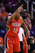 Feb 13, 2017; Phoenix, AZ, USA; New Orleans Pelicans guard Langston Galloway (10) points after making a basket against the Phoenix Suns in the first half of the NBA game at Talking Stick Resort Arena. Mandatory Credit: Jennifer Stewart-USA TODAY Sports