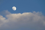 Middletown, New York  - The moon and clouds at twilight on Feb. 4, 2012. ©Tom Bushey / The Image Works